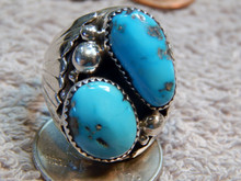 Mens Sterling Silver Turquoise Ring Navajo Mike Thomas Size 10 7/8  New