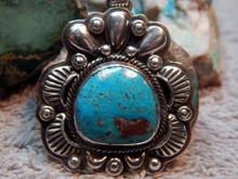New Sterling Silver  Bisbee Turquoise Pendant Navajo Lorenzo James