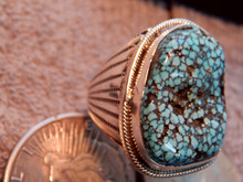 Mens Large Sterling  Black Spiderweb Turquoise Ring Navajo L  James size 14