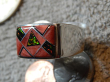 New Sterling Spiny Jet Opal Inlay Mens Ring  size 14 1/2 Navajo Calvin Begay