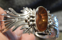 New  Fire Agate & Sterling Silver  Bracelet  Navajo Artist Emer Thompson