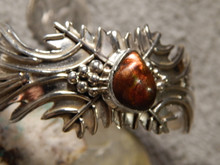 Sterling Silver Fire Agate Bracelet  by Navajo Artist Emer Thompson New