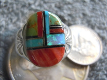 Light  Weight Mens Ring Sterling Turquoise Spiny Inlay Navajo Mary L Size9 3/4