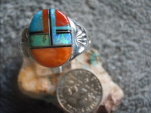 Light Weight Mens Ring Sterling Turquoise Spiny Inlay Navajo Mary L New size 12