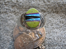 Mens Light Weight Ring Sterling Gemstone Inlay Navajo Tommy Lincoln New Size 11