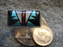Mens Sterling Turquoise Jet MOP Inlay Ring Sam Begay New Size 11 3/4