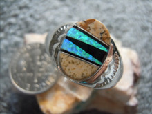 Mens Light Weight Ring Sterling  Gem  Inlay Navajo Tommy Lincoln Size 11 1/4