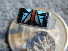 New  Mens Sterling Turquoise Jet MOP Inlay Ring Sam Begay Size 12 1/4
