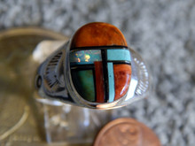 Light Weight Mens Ring Sterling Turquoise Spiny Inlay Navajo  Mary L Size 12 1/2