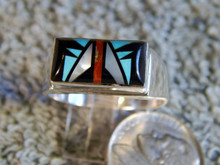 Mens Sterling Turquoise Jet MOP Inlay Ring Sam Begay New Size 12 3/4
