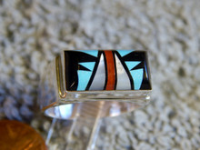 Mens Sterling Turquoise Jet MOP Inlay Ring Sam Begay New Size 9 3/4