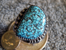 Mens New Black Spiderweb Turquoise  Sterling Ring Navajo Russel Sam Size 12 1/2