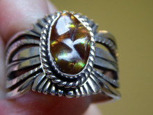 Mens Fire Agate Sterling Silver Ring by Navajo Russel Sam Size 15