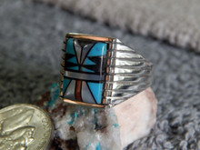 New Mens  Sterling Turquoise MOP Jet Inlay Ring Sam Begay size 12 3/4