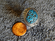 Mens Black Spiderweb Turquoise Sterling Ring Navajo Lorenzo James Size 12 3/4