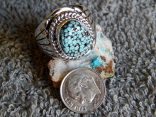 Mens Black Spiderweb Turquoise Sterling Ring Navajo Lorenzo James Size 10 3/4