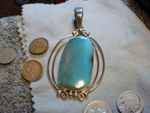 Sterling Silver Bisbee Blue Turquoise Pendant Navajo  Harold Tahe New Jewelry