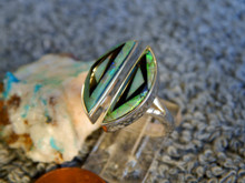 New Sterling Silver Created Opal Jet Inlay Ring Navajo Marie Tsosie Size 7 1/2