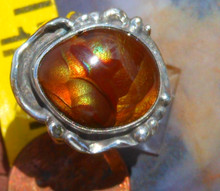 New Sterling Silver and  Fire Agate Gem ring size  5 1/2              D46