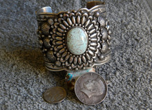 Large Sterling Silver Cuff Bracelet Dry Creek Spiderweb Turquoise Darryl Becenti