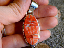 New Sterling Silver Spiny Oyster Pendent By Navajo Ray Jack