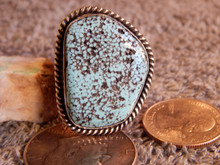 Mens Sterling Spiderweb Turquoise Adjustable Ring Navajo Harold Tahe Size 10