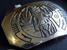 New Sterling Overlay Eagle Dancer Belt Buckle Hopi Artist Adrian Sanchez