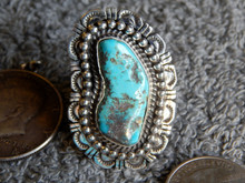 Bisbee Turquoise Sterling Silver Ring Navajo Robert Shakey Size 10 3/4
