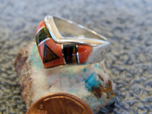 New Sterling Spiny Created Opal Inlay Ladies Ring Navajo Calvin Begay Size 6 1/2