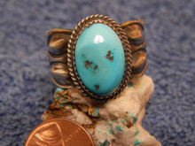 Mens Sterling Silver Navajo Turquoise Ring Martha Cayatineto Size 13