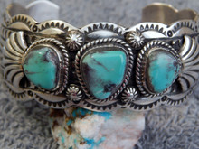 New Heavy  Sterling Silver Bisbee Blue Turquoise Bracelet Navajo Marcella James