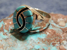 Mens Sterling Silver Turquoise Inlay Hummingbird Ring Amy Quandelacy Size 8