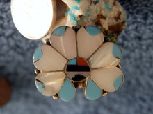 Ladies Sterling Turquoise Coral MOP Inlay Ring Zuni Alison Dishta Size 9 1/2