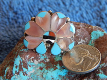 Ladies Sterling Turquoise Coral MOP  Inlay Ring Zuni Alison Dishta Size 8 1/2