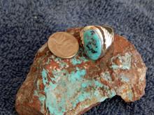 Light Weight Mens Sterling Kingman Turquoise Ring Navajo Peter Reeder Size 10 1/