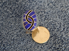 New Mens Sterling Lapis Hummingbird Inlay Ring Amy Quandelacy Size  10 1/2