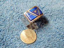 New Mens Sterling Silver Lapis Inlay Ring by Navajo Touley Gustine Size 14