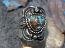 Unisex Sterling Silver Bisbee Turquoise Ring Navajo Lorenzo James Size 8 1/2