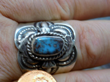 Mens Bisbee Turquoise Sterling Silver Ring Navajo Lorenzo James Size 14 1/2