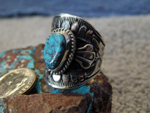 Bisbee Turquoise Sterling Silver Unisex Ring Navajo Lorenzo James Size 9 1/4