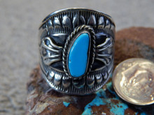 Bisbee Turquoise Sterling Silver Unisex Ring Navajo Lorenzo James Size 13