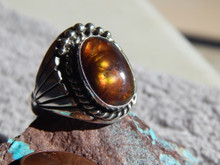 New Mens Sterling Silver  Fire Agate Ring By Navajo Lorenzo James Size 12 3/4