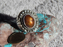 New Mens Sterling Silver  Fire Agate Ring By Navajo Lorenzo James Size 9 1/2