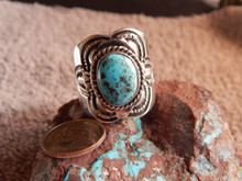 New Mens Bisbee Turquoise Sterling Silver Ring Navajo Lorenzo James Size 13 1/4