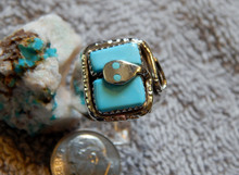 New Mens Silver Sterling Turquoise Snake Ring Zuni  Effie Calavaza Size 11 3/4