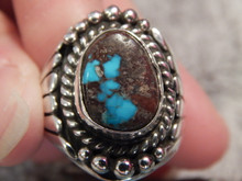 Bisbee Turquoise Sterling Silver Mens Ring By Navajo  Lorenzo James Size 8 1/2