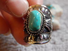 Bisbee Turquoise Sterling Silver Unisex Ring Navajo Lorenzo James Size 5 1/4
