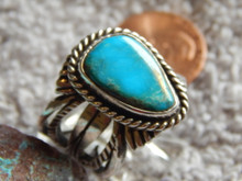 Bisbee Turquoise Sterling Silver Unisex  Ring by Navajo Russell Sam Size 8