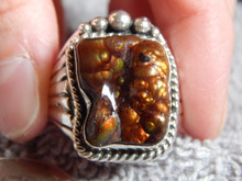 New Mens Fire Agate Sterling Silver Ring by Navajo Russell Sam Size 16