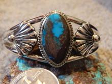 Bisbee Blue Turquoise Sterling Silver Ladies Bracelet By Navajo Harold Tahe